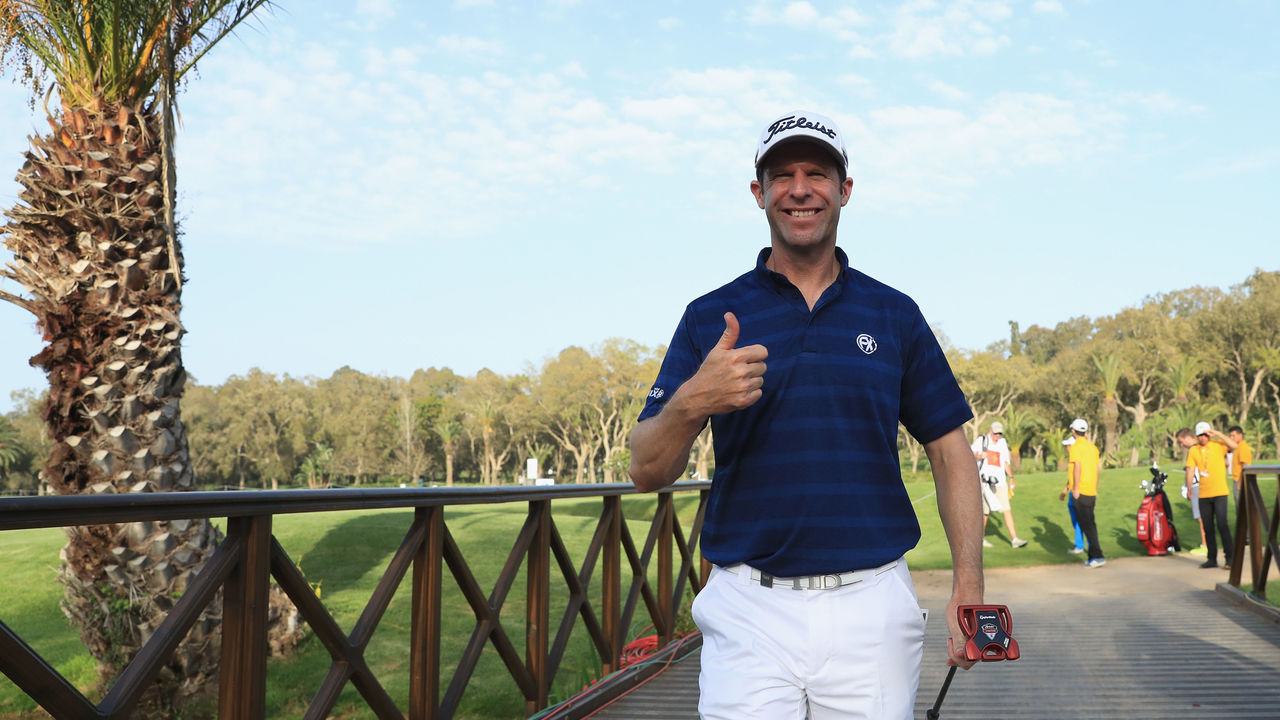 RABAT, MOROCCO - APRIL 19: Bradley Dredge of Wales gives a thumbs-up after shooting 67 during the first round of the during Day One of the Trophee Hassan II at Royal Golf Dar Es Salam on April 19, 2018 in Rabat, Morocco.