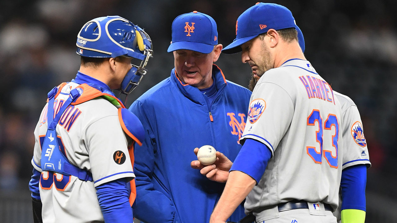 ATLANTA, GA - APRIL 19: Pitcher Matt Harvey #33 of the New York Mets meets with pitching coach Dave Eiland #58 and catcher Jose Lobaton #59 during the third inning against the Atlanta Braves at SunTrust Park on April 19, 2018 in Atlanta, Georgia.