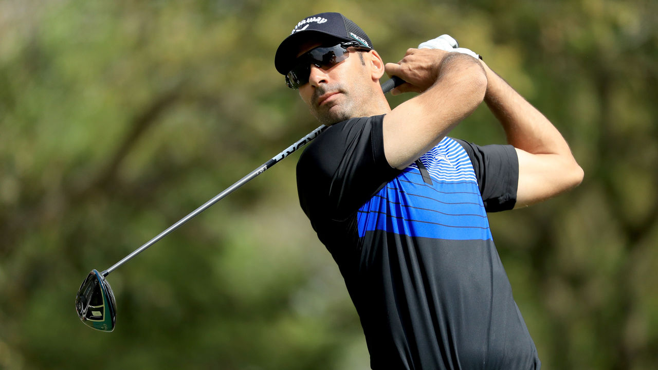 RABAT, MOROCCO - APRIL 20: Alvaro Quiros of Spain on the 18th tee during the second round of the Trophee Hassan II at Royal Golf Dar Es Salam on April 20, 2018 in Rabat, Morocco.