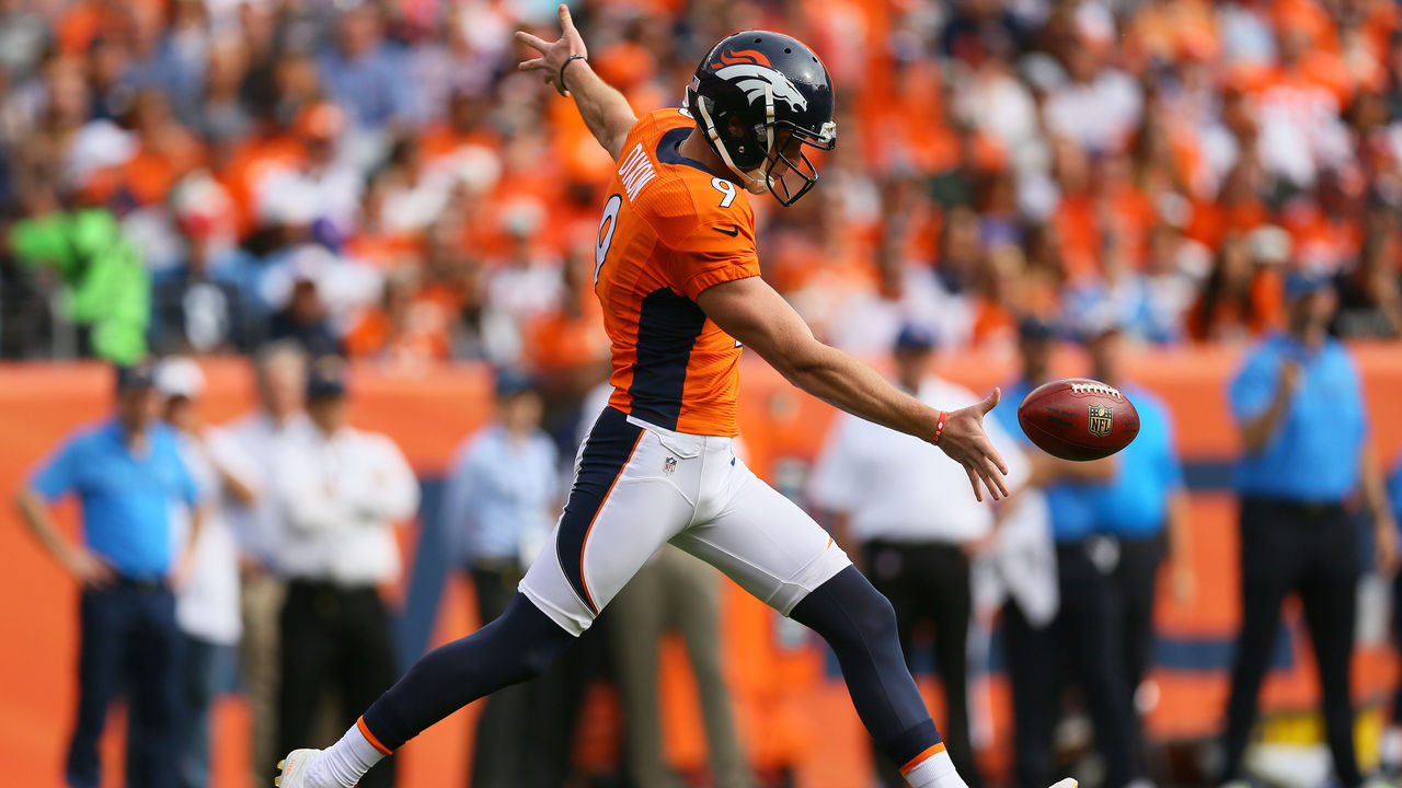 DENVER, CO - OCTOBER 30: Punter Riley Dixon #9 of the Denver Broncos punts the ball in the first quarter of the game against the San Diego Chargers at Sports Authority Field at Mile High on October 30, 2016 in Denver, Colorado.