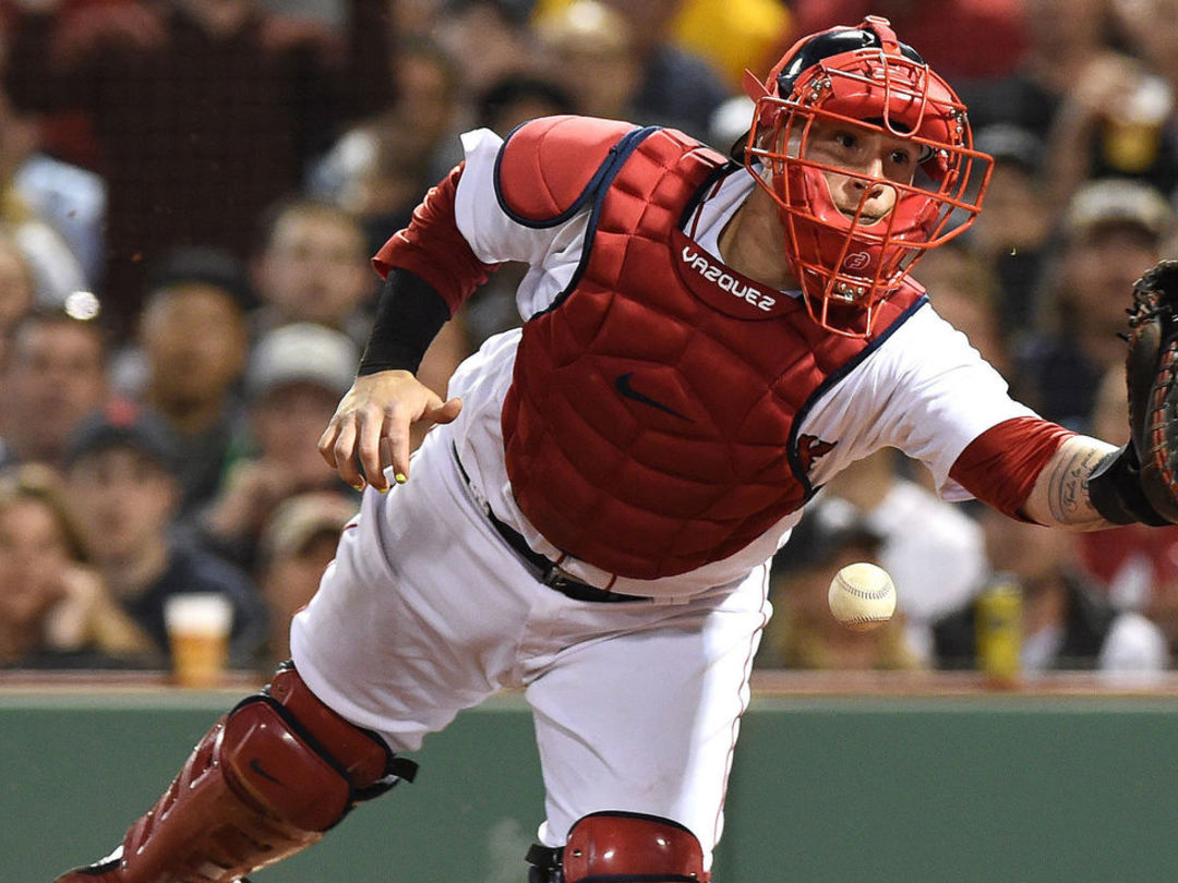 Watch: Red Sox catcher Vazquez commits bizarre case of interference