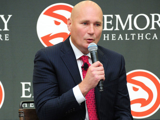 BROOKHAVEN GA - MAY 14 General Manage Travis Schlenk of the Atlanta speaks to the media during Lloyd Pierces introductory press conference on May 14 2018 at the Emory Sports Medicine Complex in Brookhaven Georgia NOTE TO USER User expressly acknowledges and agrees that by downloading andor using this photograph user is consenting to the terms and conditions of the Getty Images License Agreement Mandatory Copyright Notice Copyright 2018 NBAE