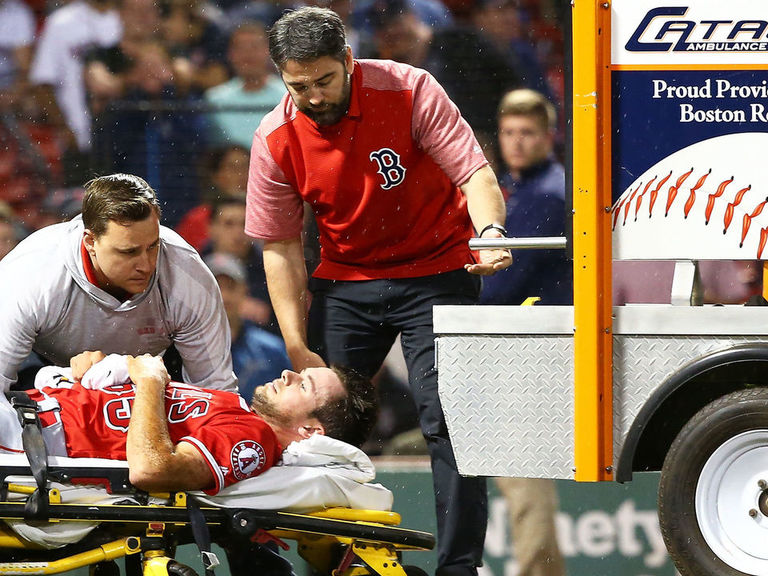 Angels rookie carted off field after suffering gruesome injury