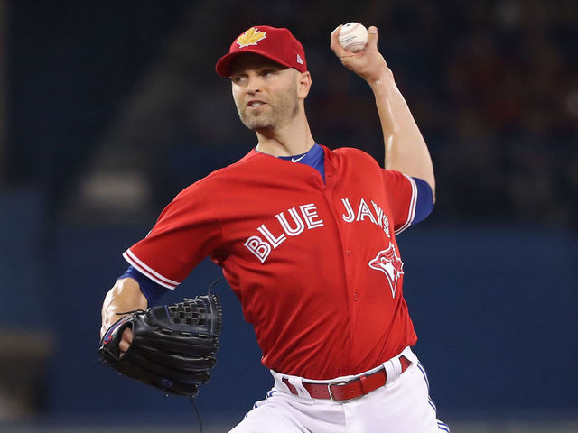 TORONTO, ON - JULY 1: J.A. Happ #33 of the Toronto Blue Jays delivers a pitch in the first inning during MLB game action against the Detroit Tigers at Rogers Centre on July 1, 2018 in Toronto, Canada.
