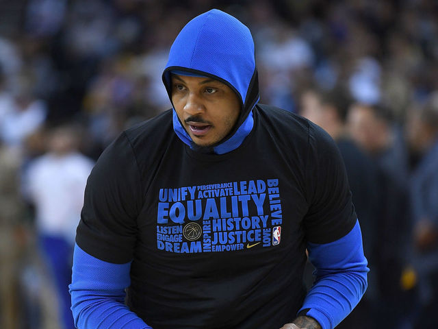 OAKLAND, CA - FEBRUARY 06: Carmelo Anthony #7 of the Oklahoma City Thunder warms up prior to the start of an NBA basketball game against the Golden State Warriors at ORACLE Arena on February 6, 2018 in Oakland, California.