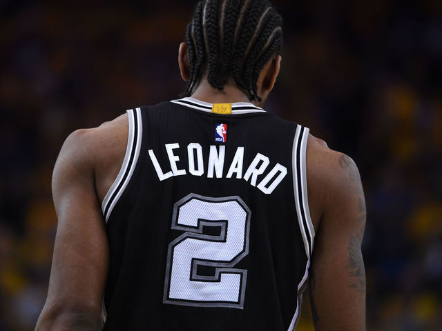 OAKLAND, CA - MAY 14: Kawhi Leonard #2 of the San Antonio Spurs stands on the court during Game One of the NBA Western Conference Finals against the Golden State Warriors at ORACLE Arena on May 14, 2017 in Oakland, California.