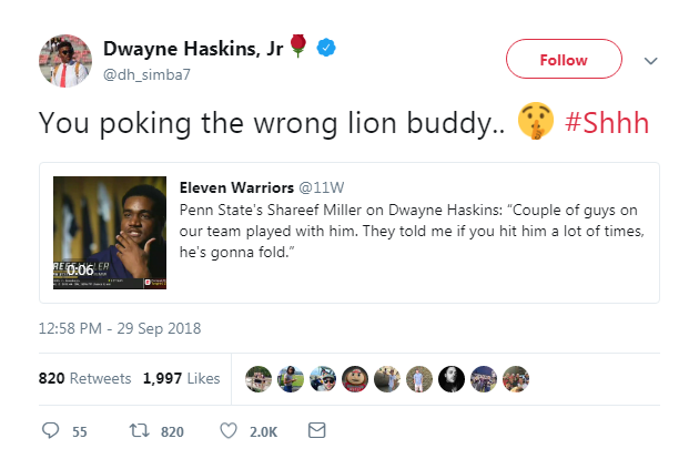 Haskins fires back at Penn State trash talk on Twitter