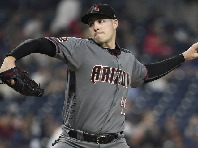 SAN DIEGO CA - SEPTEMBER 28 Patrick Corbin 46 of the Arizona Diamondbacks pitches during the first inning of a baseball game against the San Diego Padres at PETCO Park on September 28 2018 in San Diego California