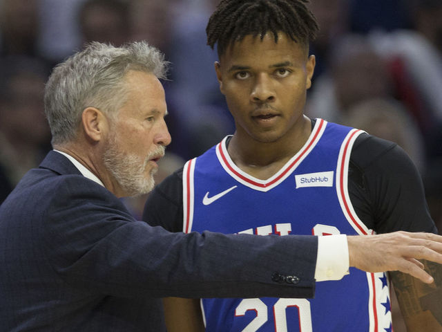 PHILADELPHIA PA - OCTOBER 18 Head coach Brett Brown of the Philadelphia 76ers talks to Markelle Fultz 20 in the first quarter against the Chicago Bulls at Wells Fargo Center on October 18 2018 in Philadelphia Pennsylvania The 76ers defeated the Bulls 127-108