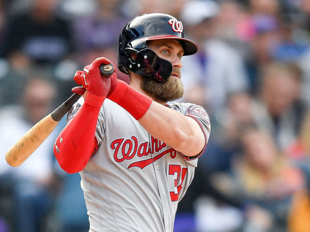DENVER CO - SEPTEMBER 30 Bryce Harper 34 of the Washington Nationals hits a ninth inning double against the Colorado Rockies at Coors Field on September 30 2018 in Denver Colorado