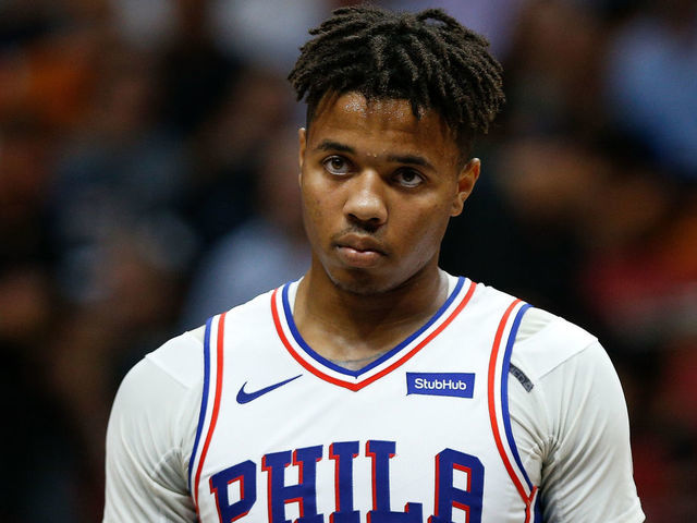 MIAMI FL - NOVEMBER 12 Markelle Fultz 20 of the Philadelphia 76ers in action against the Miami Heat during the second half at American Airlines Arena on November 12 2018 in Miami Florida