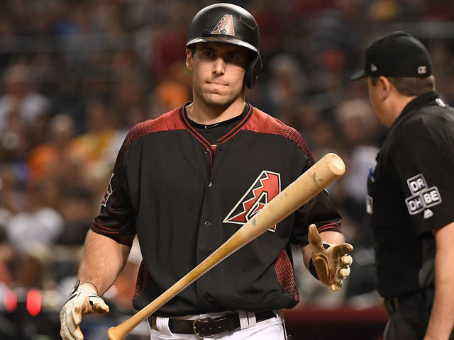 PHOENIX AZ - AUGUST 03 Paul Goldschmidt 44 of the Arizona Diamondbacks reacts after striking out in the MLB game against the San Francisco Giants at Chase Field on August 3 2018 in Phoenix Arizona The Arizona Diamondbacks won 6-3