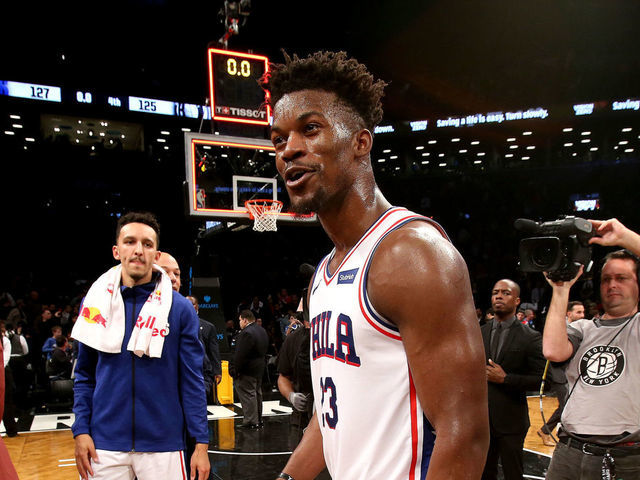 BROOKLYN NY - NOVEMBER 25 Jimmy Butler 23 of the Philadelphia 76ers is seen after the game against the Brooklyn Nets on November 25 2018 at Barclays Center in Brooklyn New York Mandatory Copyright Notice Copyright 2018 NBAE