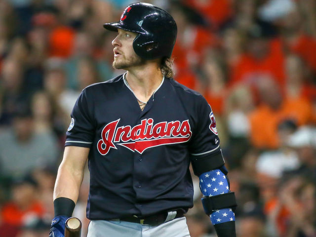 HOUSTON TX - OCTOBER 06 Cleveland Indians third baseman Josh Donaldson 27 reacts after striking out swinging in the top of the second inning during the ALDS Game 2 between the Cleveland Indians and Houston Astros on October 6 2018 at Minute Maid Park in Houston Texas
