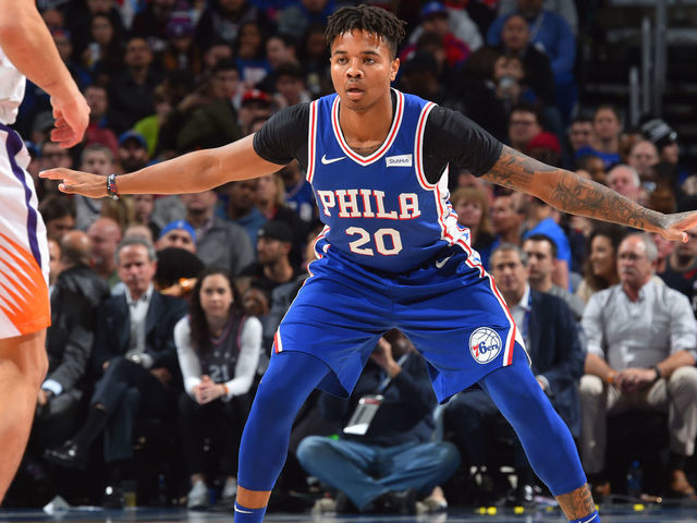 PHILADELPHIA PA - NOVEMBER 19 Markelle Fultz 20 of the Philadelphia 76ers defends against the Phoenix Suns on November 19 2018 at the Wells Fargo Center in Philadelphia Pennsylvania NOTE TO USER User expressly acknowledges and agrees that by downloading andor using this Photograph user is consenting to the terms and conditions of the Getty Images License Agreement Mandatory Copyright Notice Copyright 2018 NBAE