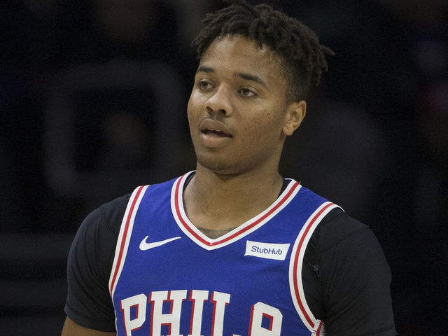 PHILADELPHIA PA - NOVEMBER 19 Markelle Fultz 20 of the Philadelphia 76ers looks on against the Phoenix Suns at the Wells Fargo Center on November 19 2018 in Philadelphia Pennsylvania