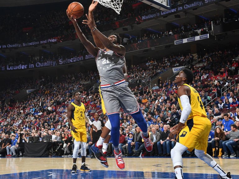 Embiid puts up 28 points, 14 rebounds in 1st half vs. Pacers