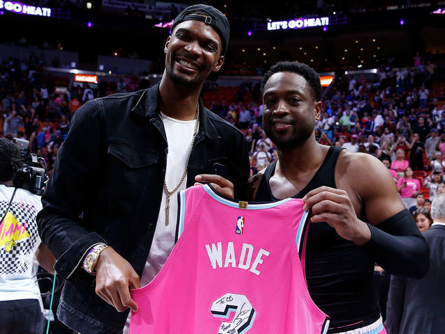 new arrival f5784 b49d0 Wade, Bosh share special moment postgame | theScore.com