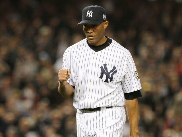 9085b939d NEW YORK - OCTOBER 29  Mariano Rivera  42 of the New York Yankees reacts