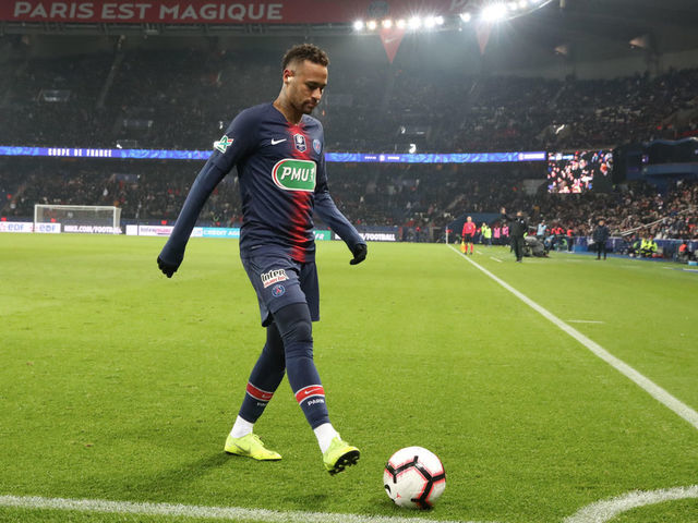 PARIS, FRANCE - JANUARY 23: Neymar Jr of Paris Saint-Germain in action during the French Cup match between Paris Saint-Germain and RC Strasbourg at Parc des Princes on January 23, 2019 in Paris, France.