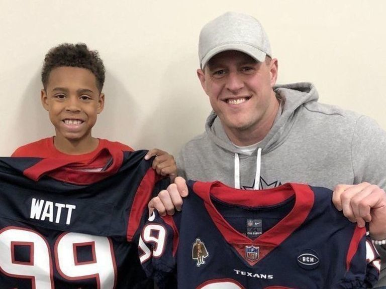 Watt gifts jerseys to Texans fan who wore homemade version to school