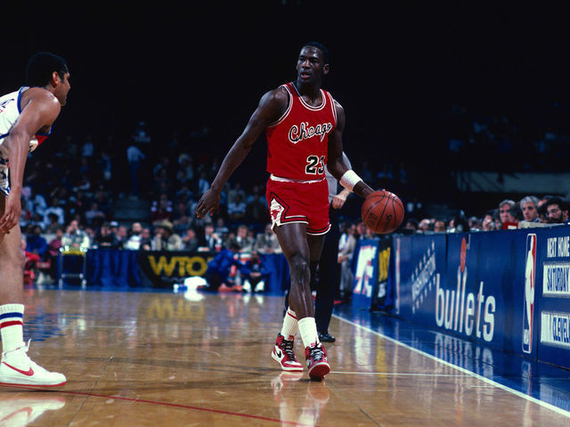 0d6cd0a43d0 LANDOVER, MD - CIRCA 1985: Michael Jordan #23 of the Chicago Bulls dribbles