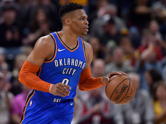 9a7edf10deb SALT LAKE CITY, UT - MARCH 11: Russell Westbrook #0 of the Oklahoma