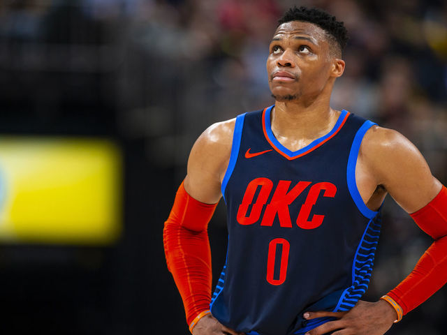 e412891ee13 INDIANAPOLIS, IN - MARCH 14: Russell Westbrook #0 of the Oklahoma City  Thunder