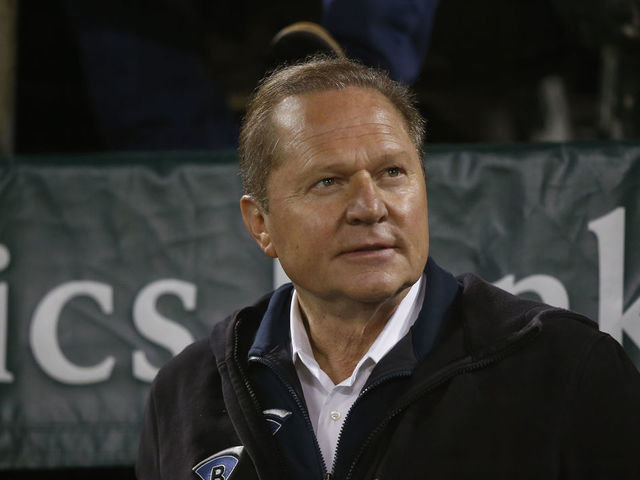 OAKLAND CA - APRIL 2 Agent Scott Boras sits in the stands during the game between the Oakland Athletics and the Boston Red Sox at the Oakland-Alameda County Coliseum on April 2 2019 in Oakland California The Athletics defeated the Red Sox 1-0