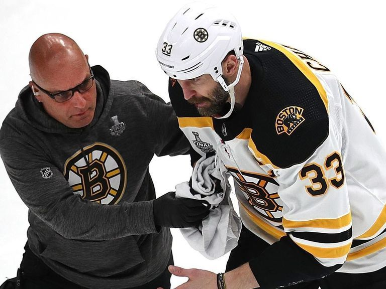 Watch: Chara bloodied in Game 4 after puck deflects off face