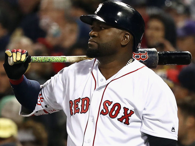 BOSTON MA - OCTOBER 10 David Ortiz 34 of the Boston Red Sox looks on in the eighth inning against the Cleveland Indians during game three of the American League Divison Series at Fenway Park on October 10 2016 in Boston Massachusetts