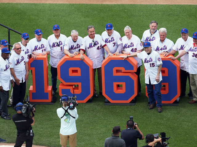FLUSHING NY - JUNE 29 The 1969 New York Mets are honored during the 50th Anniversary of the Mets winning the World Series before the game between the Atlanta Braves and the New York Mets at Citi Field on Saturday June 29 2019 in Flushing New York
