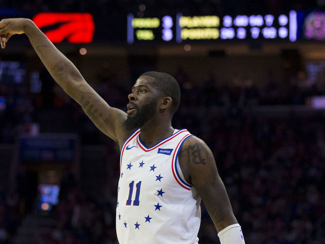 PHILADELPHIA PA - MAY 05 James Ennis III 11 of the Philadelphia 76ers shoots the ball against the Toronto Raptors in Game Four of the Eastern Conference Semifinals at the Wells Fargo Center on May 5 2019 in Philadelphia Pennsylvania The Raptors defeated the 76ers 101-96