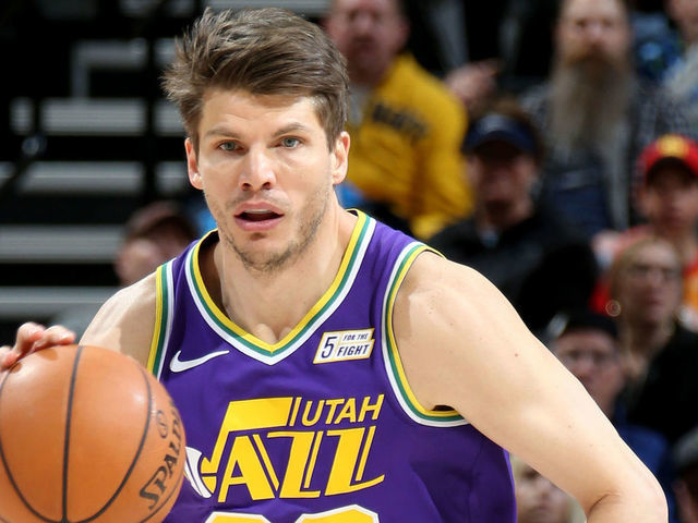 SALT LAKE CITY UT - MARCH 29 Kyle Korver 26 of the Utah Jazz handles the ball during the game against the Washington Wizards on March 29 2019 at vivintSmartHome Arena in Salt Lake City Utah Mandatory Copyright Notice Copyright 2019 NBAE