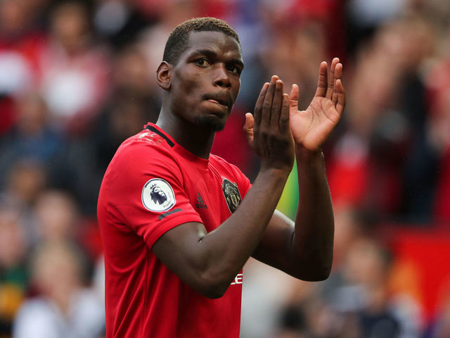 MANCHESTER, ENGLAND - AUGUST 11: Paul Pogba of Manchester United at full time of the Premier League match between Manchester United and Chelsea FC at Old Trafford on August 11, 2019 in Manchester, United Kingdom.