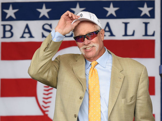 COOPERSTOWN NY - JULY 29 Hall of Famer Rich Goose Gossage is introduced during the Baseball Hall of Fame induction ceremony at the Clark Sports Center on July 29 2018 in Cooperstown New York