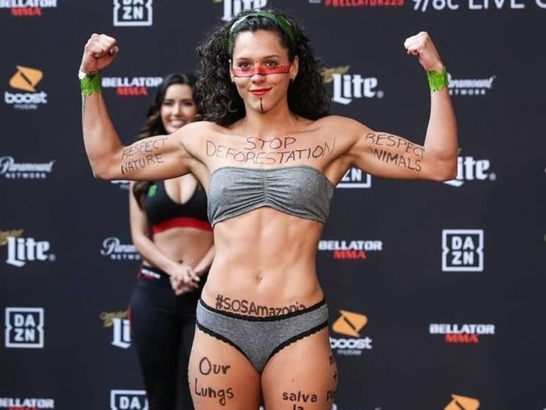 Alejandra Lara protests Amazon deforestation at Bellator 225 weigh-in
