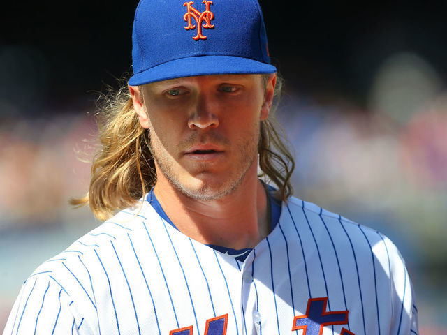 NEW YORK NY - SEPTEMBER 08 Noah Syndergaard 34 of the New York Mets in action against the Philadelphia Phillies during a game at Citi Field on September 8 2019 in New York City