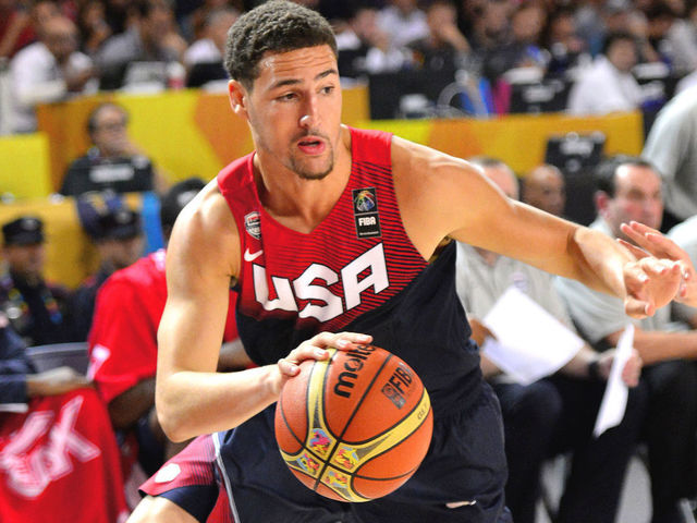 BILBAO SPAIN - SEPTEMBER 04 Klay Thompson 5 of the USA Basketball Mens National Team handles the ball against the Ukraine Basketball Team during the FIBA 2014 World Cup Tournament at the Bilbao Exhibition Center on September 04 2014 in Bilbao Spain NOTE TO USER User expressly acknowledges and agrees that by downloading andor using this Photograph user is consenting to the terms and conditions of the Getty Images License Agreement Mandatory Copyright Notice Copyright 2014 NBAE