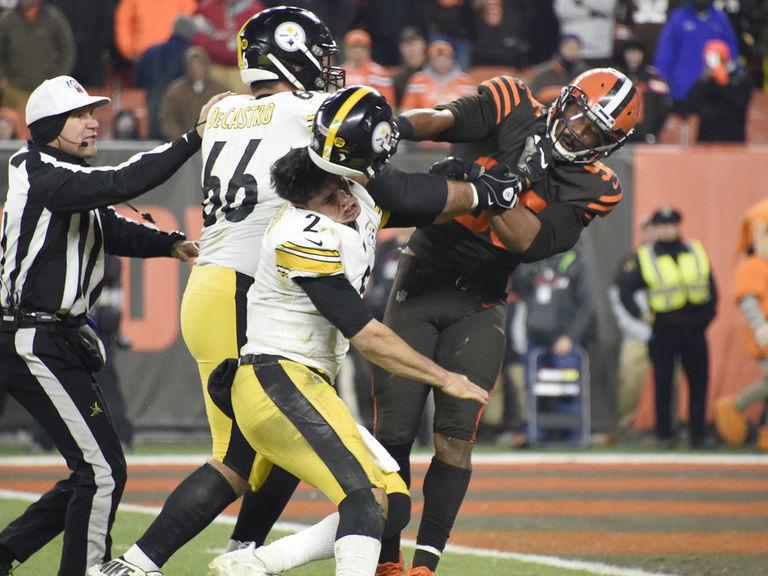 Watch: Garrett bashes Rudolph with helmet as Browns, Steelers brawl