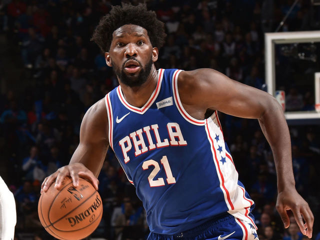 PHILADELPHIA PA - NOVEMBER 27 Joel Embiid 21 of the Philadelphia 76ers handles the ball against the Sacramento Kings on November 27 2019 at the Wells Fargo Center in Philadelphia Pennsylvania NOTE TO USER User expressly acknowledges and agrees that by downloading andor using this Photograph user is consenting to the terms and conditions of the Getty Images License Agreement Mandatory Copyright Notice Copyright 2019 NBAE