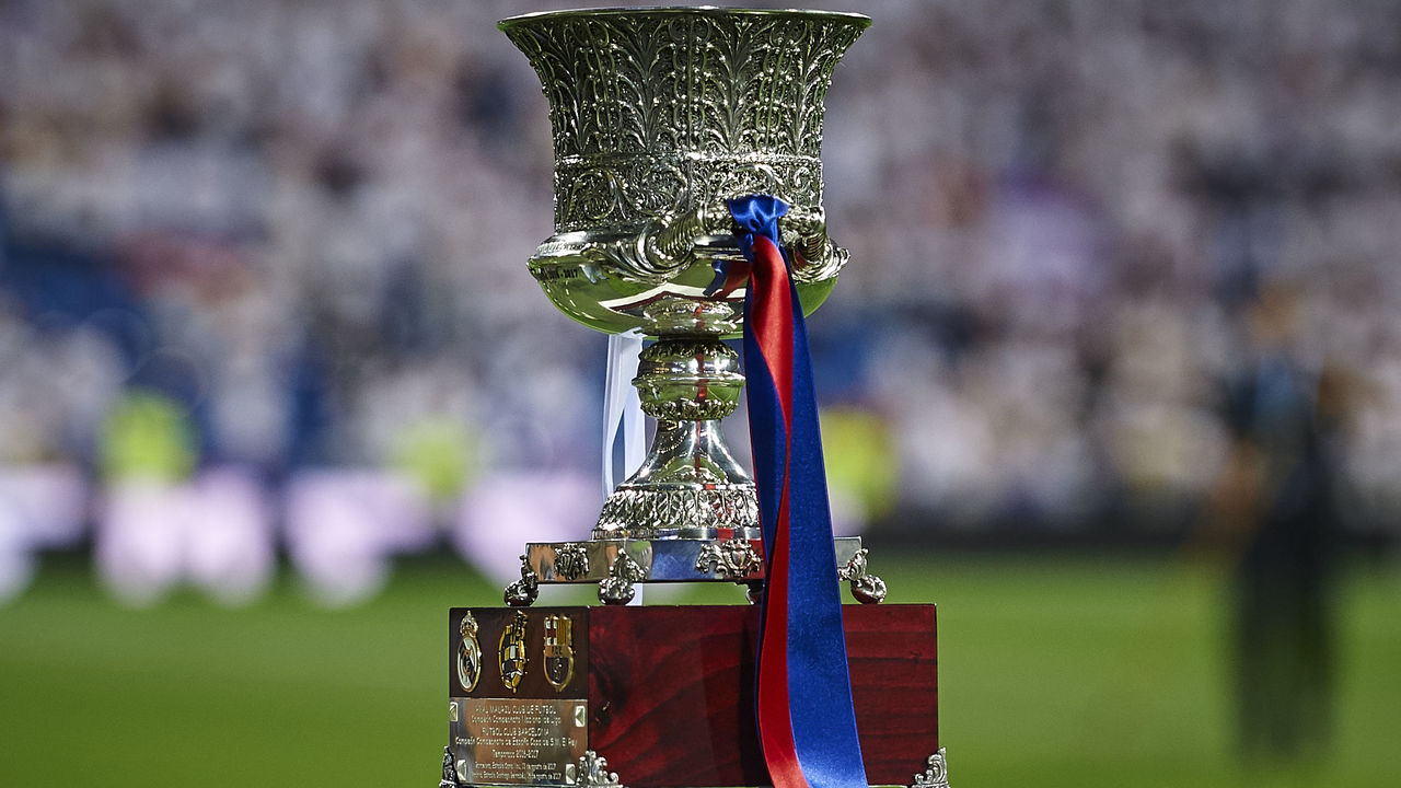 MADRID, SPAIN - AUGUST 16: Supercopa trophy is pictured prior to the Supercopa de Espana Supercopa Final 2nd Leg match between Real Madrid and FC Barcelona at Estadio Santiago Bernabeu on August 16, 2017 in Madrid, Spain.