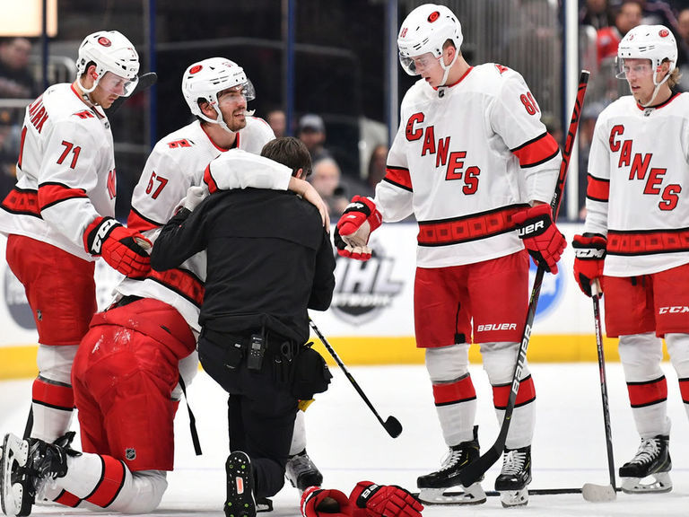 Hurricanes' Hamilton suffered broken fibula vs. Blue Jackets