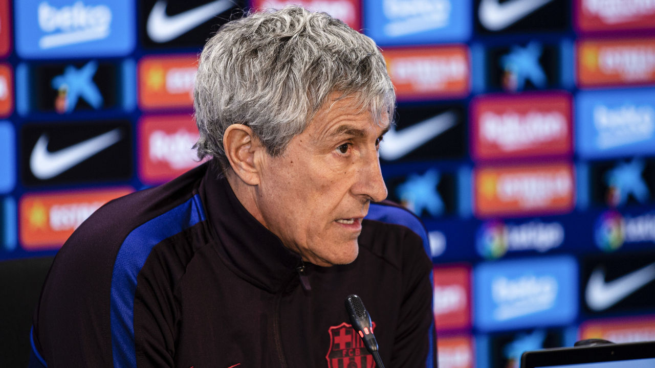 Quique Setien coach of FC Barcelona during the press conference at Ciutat Esportiva Joan Gamper on January 18, 2020 in Barcelona, Spain.